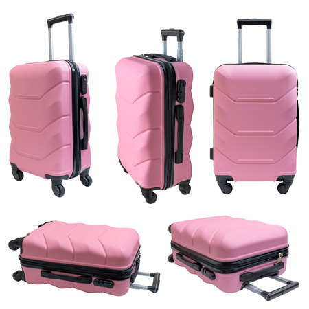 Set of pink travel suitcase, isolated on white background. Smart bag on wheels for travelers. Stock Photo