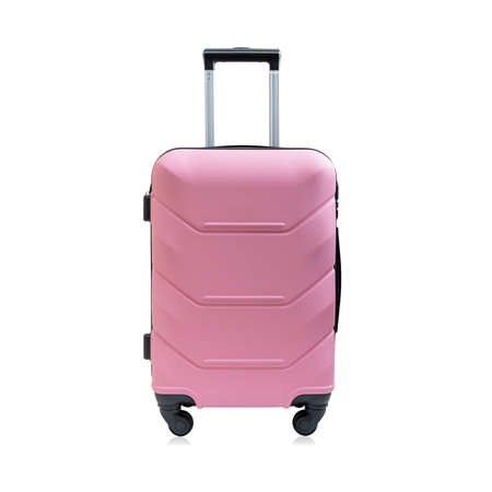 Fashionable pink travel suitcase, isolated on white background. Front view.