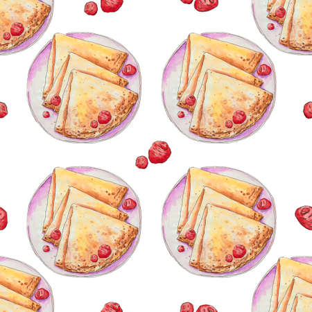 Pancakes with fresh raspberries on a plate. Hand drawn watercolor illustration isolated on white background