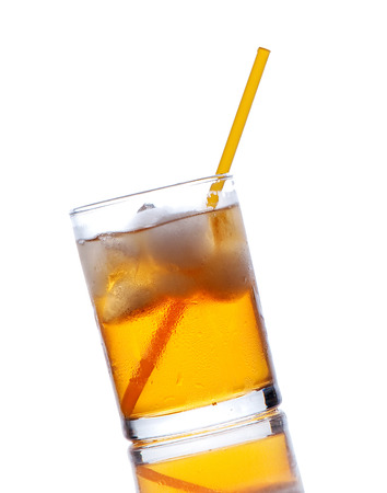 yellow to drink: yellow drink with ice on a white background Stock Photo