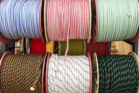 corded: several coils of rope