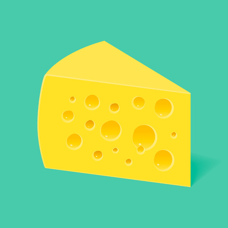 porous: three-cornered piece of cheese with holes on a blue background Illustration