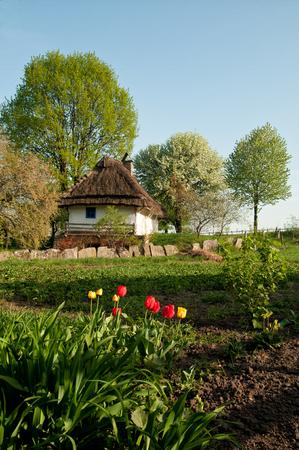 ukrainian: Ukrainian village in the spring Stock Photo