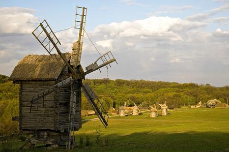 pirogovo: Antique wooden windmill in Pirogovo near Kiev Stock Photo