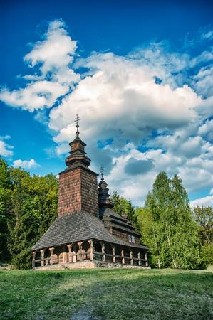 pirogovo: A typical ukrainian antique orthodox church in Pirogovo near Kiev (panorama from multiple frames)