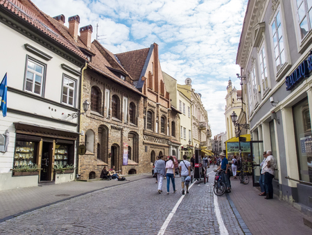 lithuania: Vilnius, Lithuania - August 16, 2013. Vilnius old town street, Lithuania Editorial