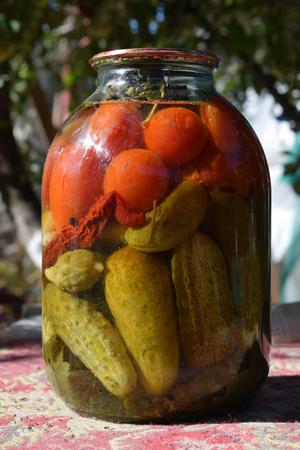carnes y verduras: verduras en frasco de vidrio, pepinos y tomates en vinagre, sal, carnes