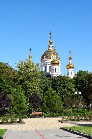 russian orthodox: beautiful architecture of the Russian Orthodox Church Park trees Stock Photo