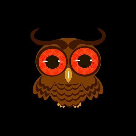 nocturnal animal: owl isolated on black background vector illustration