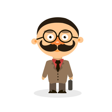 inspector: clever tax inspector on white background vector illustration Illustration