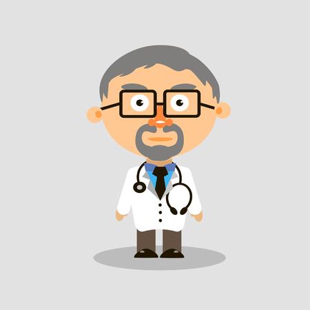 灰色の背景のベクトルに聴診器メガネで白衣の医者