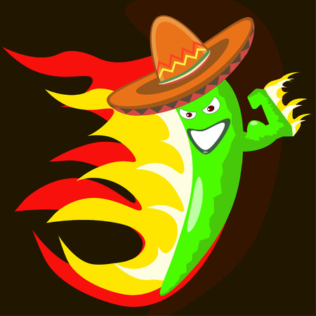 making face: Extremely hot mexican cartoon chilli pepper character on fire smiling and making a devious face
