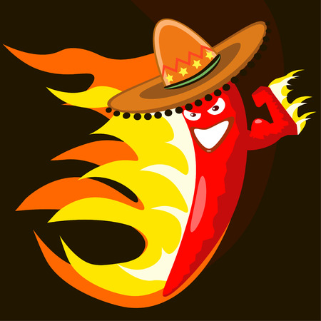 mexican cartoon: Red extremely hot mexican cartoon chilli pepper character on fire smiling and making a devious face