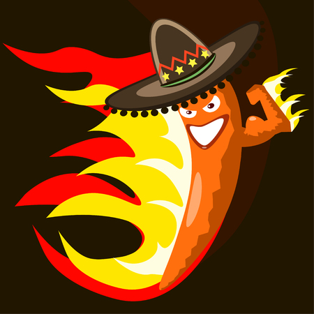 devious: Extremely hot mexican cartoon chilli pepper character on fire smiling and making a devious face
