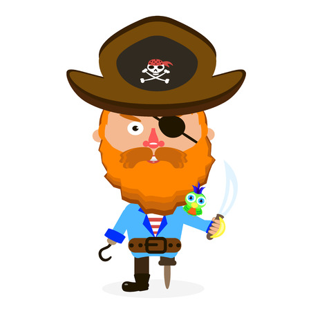 sea robber: Pirate was standing holding a drawn sword