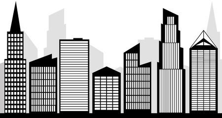 downtown district: city skyline silhouette black and white clipart