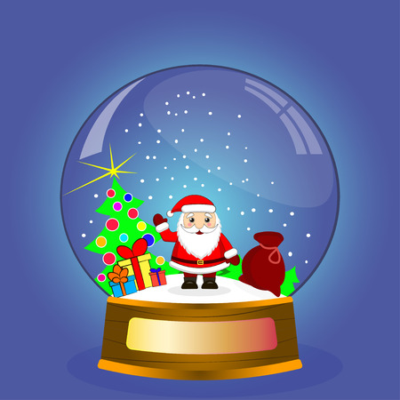 gift bag: beautiful Christmas toy funny Santa Claus with gift bag Illustration