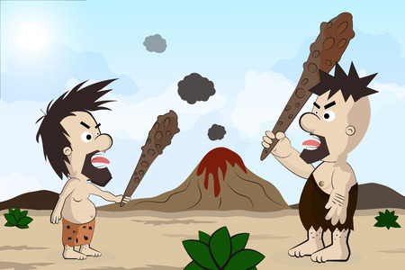 stone age: a caveman from the stone age illustration