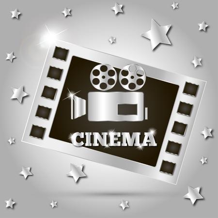 film star: camera movie film star poster vector illustration