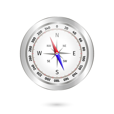 Glossy compass and Wind rose. Vector Illustration on a white background.