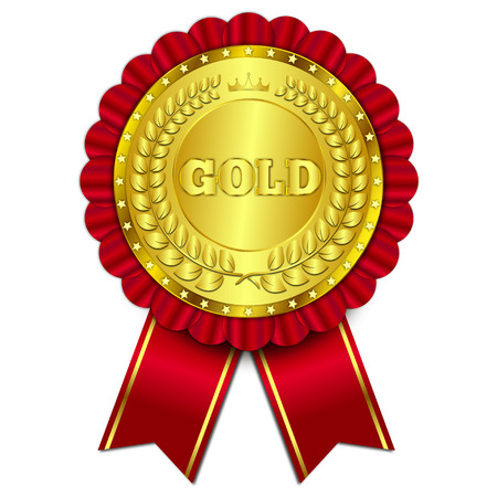 wax glossy: gold award isolated on white background vector illustration
