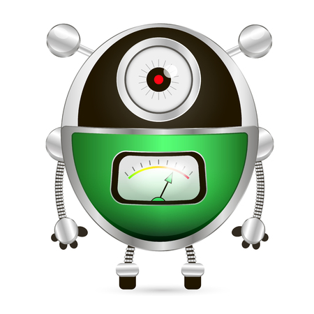 watch out: Cartoon character cute robot isolated on white background. Watch out.