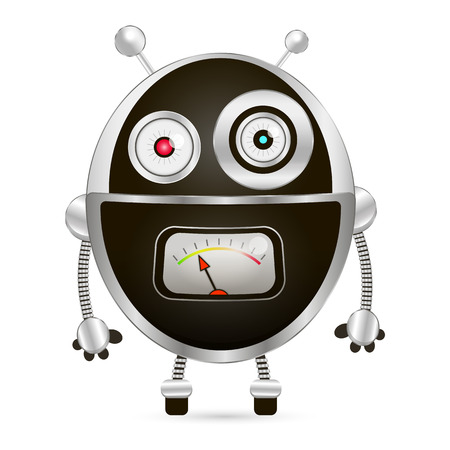 cybernetics: Cartoon character cute robot isolated on white background. Watch out.