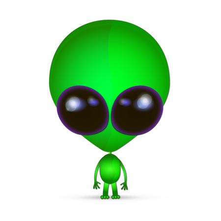 invade: Cartoon character funny Alien isolated on white background.Watch out. Illustration