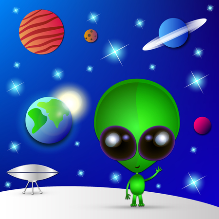 invade: Cartoon character funny Alien in space.Watch out.