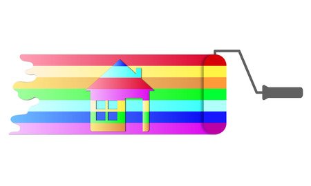paint house: House renovation icon. Painting services icon. Colorful paint roller with house and banner for you text. Easy to change color.
