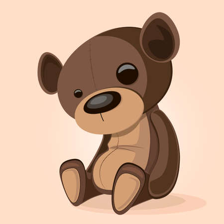solid: Basic brown teddy bear in solid colors on white. Illustration