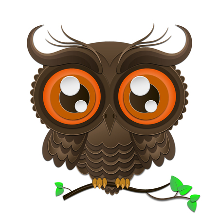 indie: isolated owl on a tree branch illustration high quality