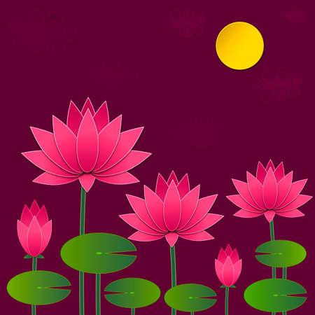 buddism: Beautiful pink lotus flower. Stylish floral spring wallpaper. Greeting or invitation card. Illustration