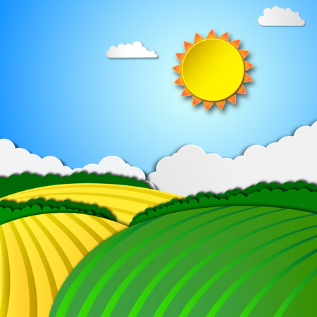 rolling landscape: Sunny rural landscape with rolling hills and fields.