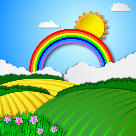 Rainbow sky and green spring meadow, vector background Illustration