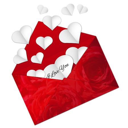 recibo: Ilustración del vector de Abra el sobre con los corazones rojos de cristal para el día de San Valentín en el fondo blanco Vectores