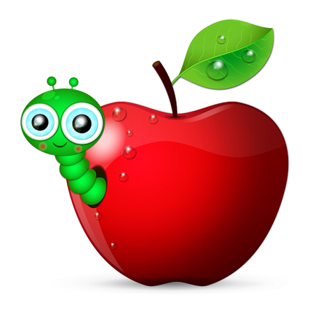 crawling creature: Cartoon worm coming out of an apple Illustration