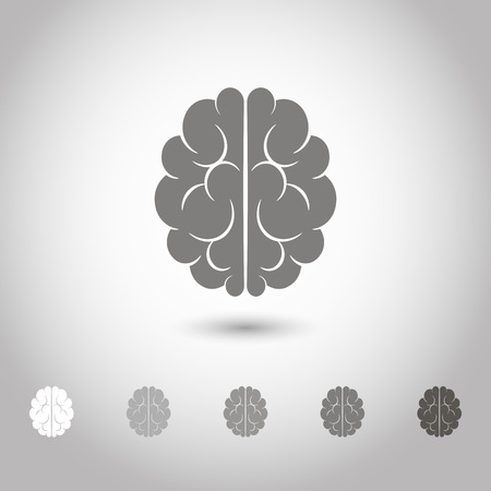 representations: Vector illustration of brain designs and badges. Iconic representations of creativity, ideas, inspiration, intelligence Illustration