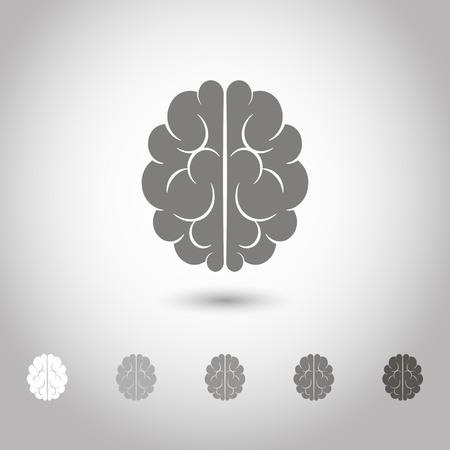 representations: Vector illustration of brain designs and badges. Iconic representations of creativity, ideas, inspiration, intelligence Illustration