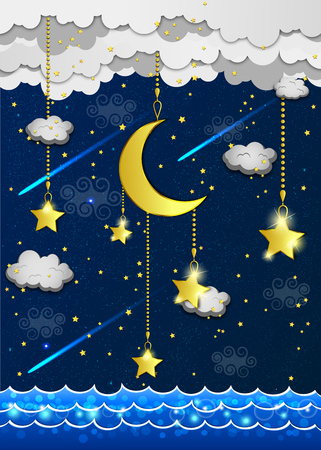 stars sky: background with evening sky. Moon and stars in the clouds.