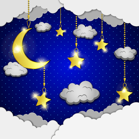 evening sky: background with evening sky. Moon and stars in the clouds.