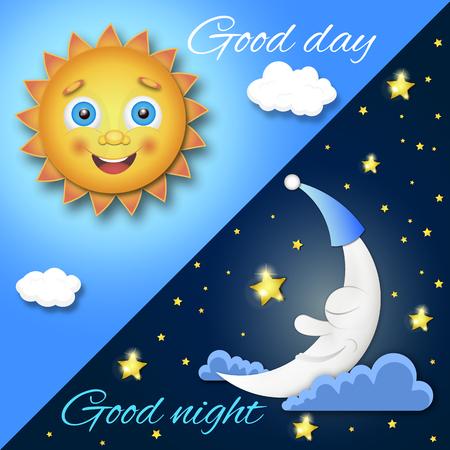 Giorno e notte design illustrazione creativa