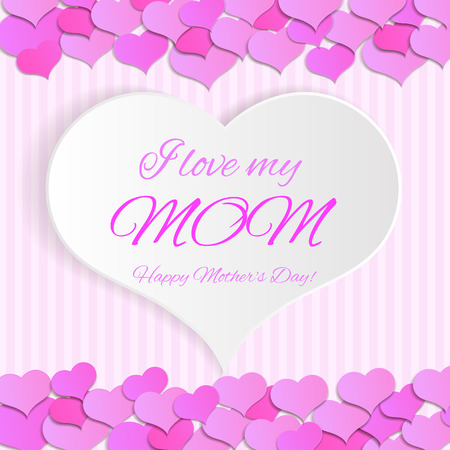 mather: lettering I love you mom. card with white background for mather day, illustration