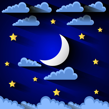 lullaby: background with evening sky. Moon and stars. Illustration