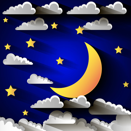 evening sky: background with evening sky. Moon and stars. Illustration