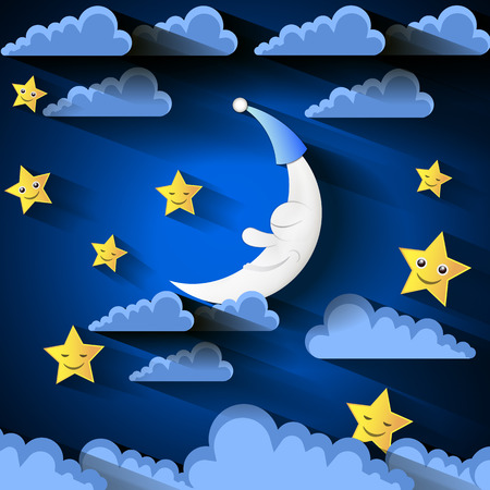 background with evening sky. Moon and stars. Illustration