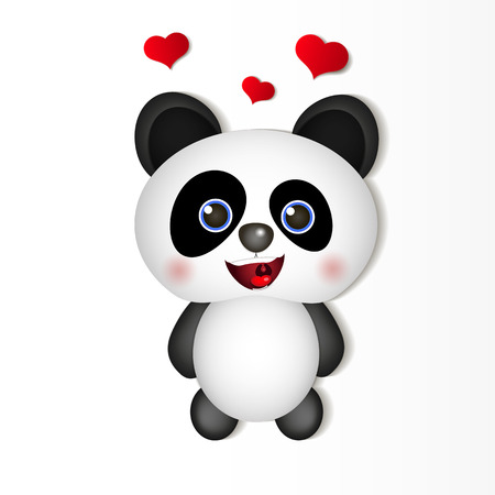 Very cute Panda eating bamboo illustration Illustration