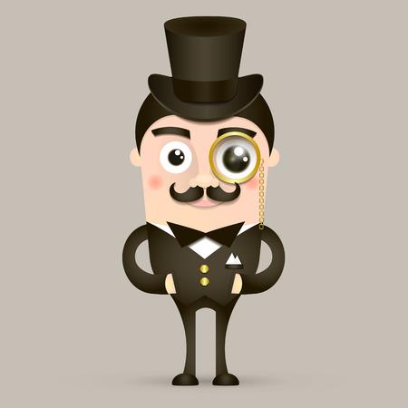 englishman: Victorian gentleman. Vintage britain gentleman in hat. Vector flat cartoon illustration
