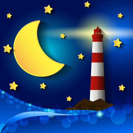 lighthouse at night: lighthouse storm night moon stars clouds light