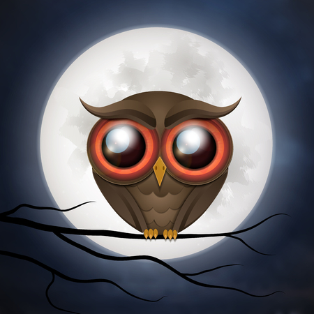 Happy Halloween cute owl card. Vector illustration